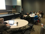Professor William S. Durden, of Clark College, leads the faculty in a session on using Canvas to Create Connectivity.