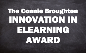 Connie Broughton Innovation in eLearning Award text on a chalkboard background